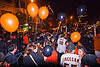 SF giants fans celebrating, 2012 world series, balloons, baseball fans, celebrating, celebration, crowd, editorial, go giants, night, partying, sf giants, sports fans, street party