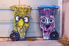 painted trash bins - urban wildlife