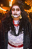 skull makeup and lace dress, day of the dead, dia de los muertos, dramatic, emotion, face painting, facepaint, halloween, lace dress, latino woman, night, red necklace, sad, skull makeup, white dress, yellow earrings