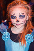 little girl with blue dress and skull makeup, blue dress, child, day of the dead, dia de los muertos, face painting, facepaint, halloween, kid, little girl, night, skull makeup