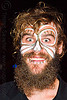 bearded man with face paint, beard, day of the dead, dia de los muertos, face painting, facepaint, halloween, makeup, man, night