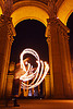 fire fans at the palace of fine arts, arches, columns, fire dancer, fire dancing, fire fans, fire performer, fire spinning, flames, long exposure, mel, night, vaults, woman