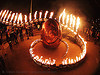 serpent mother's egg - giant snake skeleton sculpture - crucible fire arts festival 2007 (oakland, california), burning, egg, fire art, fire arts festival, fisheye, flames, flaming lotus girls, giant, sculpture, serpent mother, skeleton, snake, spiral, the crucible