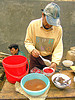 food at the market - vietnam, bowls, breakfast, coagulated blood, dishes, duck blood, food, hill tribes, indigenous, man, market, merchant, mèo vạc, poultry, raw blood soup, red, tiet canh, tiết canh, vendor