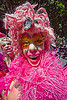 pink drag queen, drag queen, face painting, facepaint, fake eyelashes, gay pride festival, makeup, pink feathers, pink wig