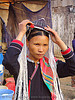 """kim mun lantien sha"" dao/yao tribe woman setting-up her celestial crown headdress - vietnam, asian woman, bảo lạc, celestial crown, dao tribe, dzao tribe, headdress, headwear, hill tribes, indigenous, kim mun lantien sha, yao tribe, zao tribe"