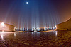 marble esplanade and columns under the full moon - ambedkar memorial, ambedkar park, architecture, dr bhimrao ambedkar memorial, fisheye, full moon, lucknow, monument, night