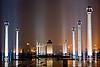 column rows - ambedkar memorial, ambedkar park, architecture, columns, dr bhimrao ambedkar memorial, lucknow, monument, night