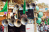 bullhorn loudspeakers on pickup truck - eid-milad-un-nabi muslim festival (india), bullhorns, crowd, eid-e-milad-un-nabi, eid-e-milād-un-nabī, eid-milad-un-nabi, islam, loud speakers, mawlid, men, milad un-nabi, milad-an-nabi, milād an-nabī, milād un-nabī, mohammed's birthday, muhammad's birthday, muslim festival, muslim parade, muslims, nabi day, prophet's birthday, religion, sound, street, عید میلاد النبی, ईद मिलाद नबी