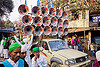 bullhorns sound system on pickup truck - eid-milad-un-nabi muslim festival (india), bullhorns, crowd, eid-e-milad-un-nabi, eid-e-milād-un-nabī, eid-milad-un-nabi, islam, loudspeakers, mawlid, men, milad un-nabi, milad-an-nabi, milād an-nabī, milād un-nabī, mohammed's birthday, muhammad's birthday, muslim festival, muslim parade, muslims, nabi day, pickup truck, prophet's birthday, religion, speakers, street, عید میلاد النبی, ईद मिलाद नबी