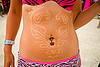 tan tattoo - burning man 2013, belly piercing, bellybutton piercing, burning man, navel piercing, tan tattoo, tanned, temporary tattoo, woman