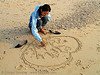 heart on sand, asian woman, beach, cat ba island, cát bà, graffiti, halong bay, heart, i love you, sand, valentine's day