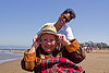grandma and granddaughter at the beach, blanket, chinese, crissy field beach, family, grandma, grandmother, happy, jenn, ocean, old woman, sea, senior, straw hat, women