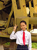 US artillery - war - vietnam, american, army museum, girl, hanoi, military, peace sign, red tie, v sign, vietnam war